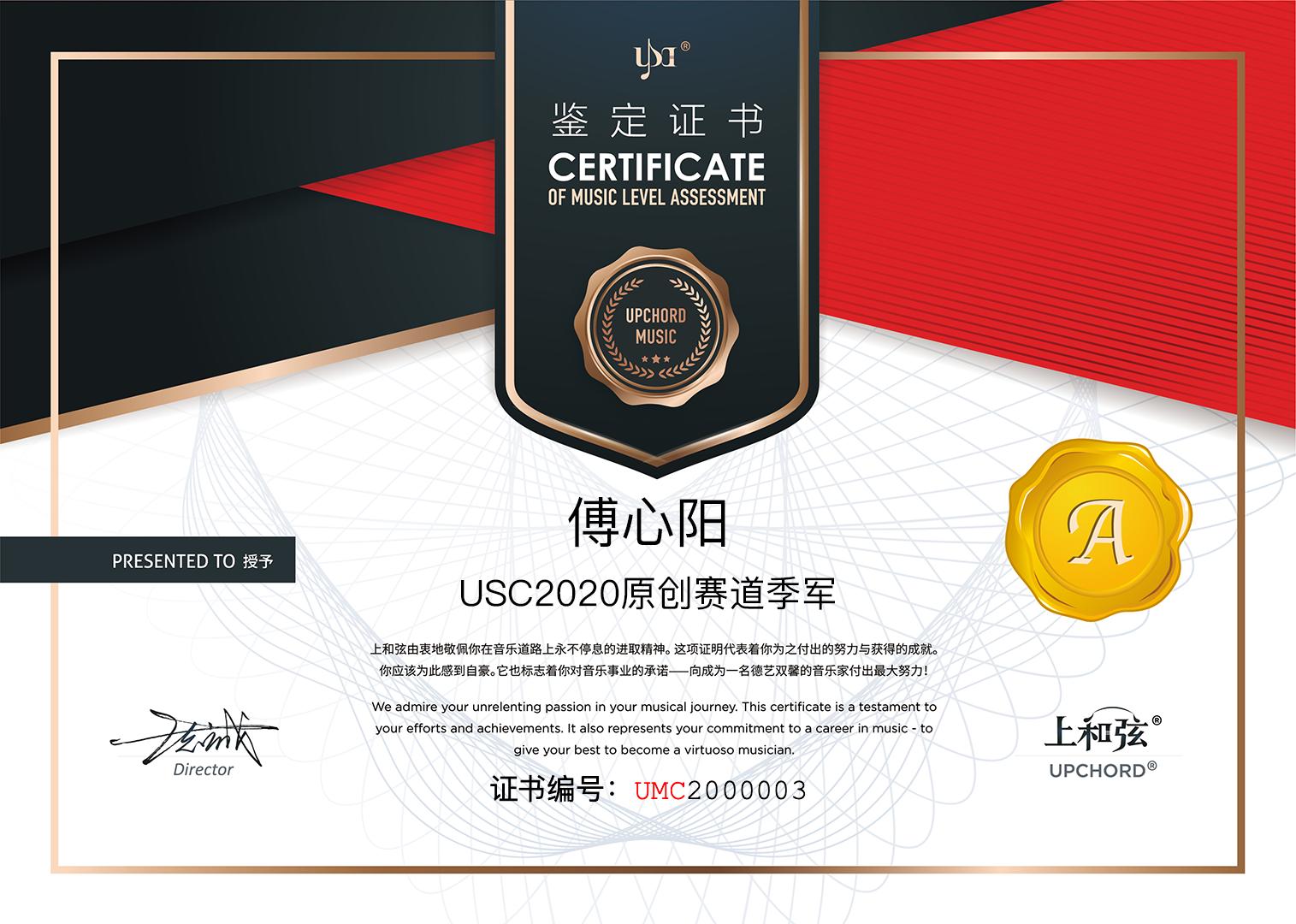 傅心阳 UMC2000003 原创季军